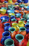 Stock Image : Colorful hand-made pottery for sale at market