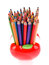 Stock Image : Colorful pencils in apple shaped stand