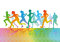 Stock Image : Colorful running figures