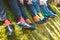 Colorful socks of groomsmen