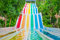 Stock Image : Colorful waterslides in water park