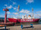 Stock Image : Columbia Lightship and Modern Navigational Buoy in Astoria Orego
