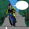 Stock Image : Comic book motorcyclist with speech bubble