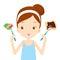 Stock Image :  Comida útil e inútil, opciones para la muchacha que elige comer