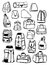 Stock Image : Contours of backpacks and bags