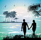 Stock Image : Couple holding hands on the beach going on the ocean