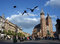 Stock Image : CRACOW: Pigeons flight in Main Square