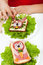 Stock Image : Creative food - creature sandwiches decoration