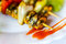Stock Image : Creative serving fried mussels with herbs, selective focus