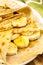 Stock Image : Crepes with banana, maple syrup and sugar powder