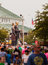 Stock Image : Crowd and American Gothic Sculpture at Iowa State Fair