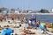 Stock Image : Crowded Municipal beach in Gdynia, Baltic sea, Poland