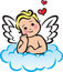 Stock Image : Cupid on a Cloud