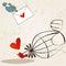 Stock Image : Cute birds in love illustration