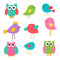 Stock Image : Cute birds and owls
