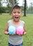 Stock Image : Cute boy holding piggy bank