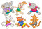 Stock Image : Cute cartoon happy animal set.