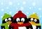 Stock Image : Cute cartoon penguins on winter background