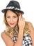 Stock Image : Cute Cheeky Woman Wearing Tilbury Hat