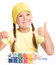 Stock Image : Cute cheerful child play with paints