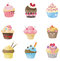 Stock Image : Cute cupcake with 9 different look