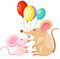 Stock Image : Cute mouses with balloon