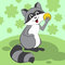 Cute raccoon sits on a green meadow and eats. Vector