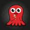 Stock Image : Cute red octopus with ice cream