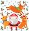 Stock Image : Cute Santa and His Reindeer