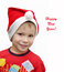 Stock Image : Cute smiling boy in hat of Santa