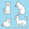 Stock Image : Cute white cats set