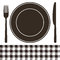 Stock Image : Cutlery, plate and tablecloth pattern