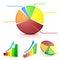 Stock Image : 3d colorful business graph set