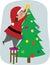 Stock Image : Dad Decorates the Christmas Tree