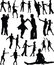 Stock Image : Dance people silhouette vector
