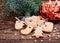 Christmas cookies handmade lies on wooden background.