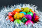 Stock Image : Decorated Easter eggs in a nest