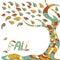 Stock Image : Decorative fall coloful tree with autumn leafs
