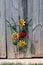Stock Image : Decorative Sun Flower and Ladybug on Fence