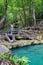 Stock Image : Deep forest waterfall (Erawan Waterfall)