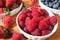 Stock Image : Delicious red ripe raspberries