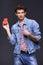 Stock Image : Denim man showing empty paper card