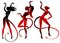 Stock Image : Devil dancing girls silhouettes set