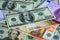 Stock Image : Dollar and Euro bank note money background