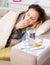 Sick Woman. Flu