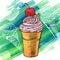 Stock Image : Doodle ice cream frozen dessert style sketch