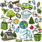 Stock Image : Doodles eco icon set