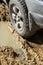 Stock Image :  Dostawać wtykał koło samochód