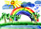 Stock Image : Drawn landscape with rainbow