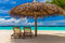 Stock Image : Dreamy beach with sun loungers